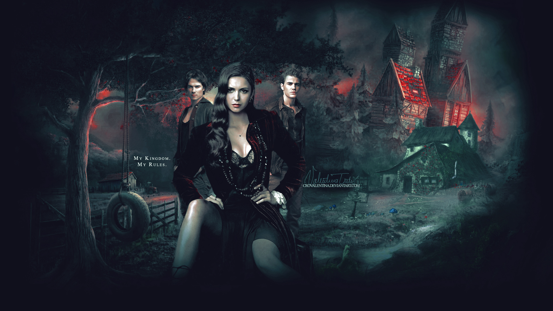Pamietniki wampirow, The Vampire Diaries 069 Ian Somerhalder, Nina Dobrev, Paul Wesley