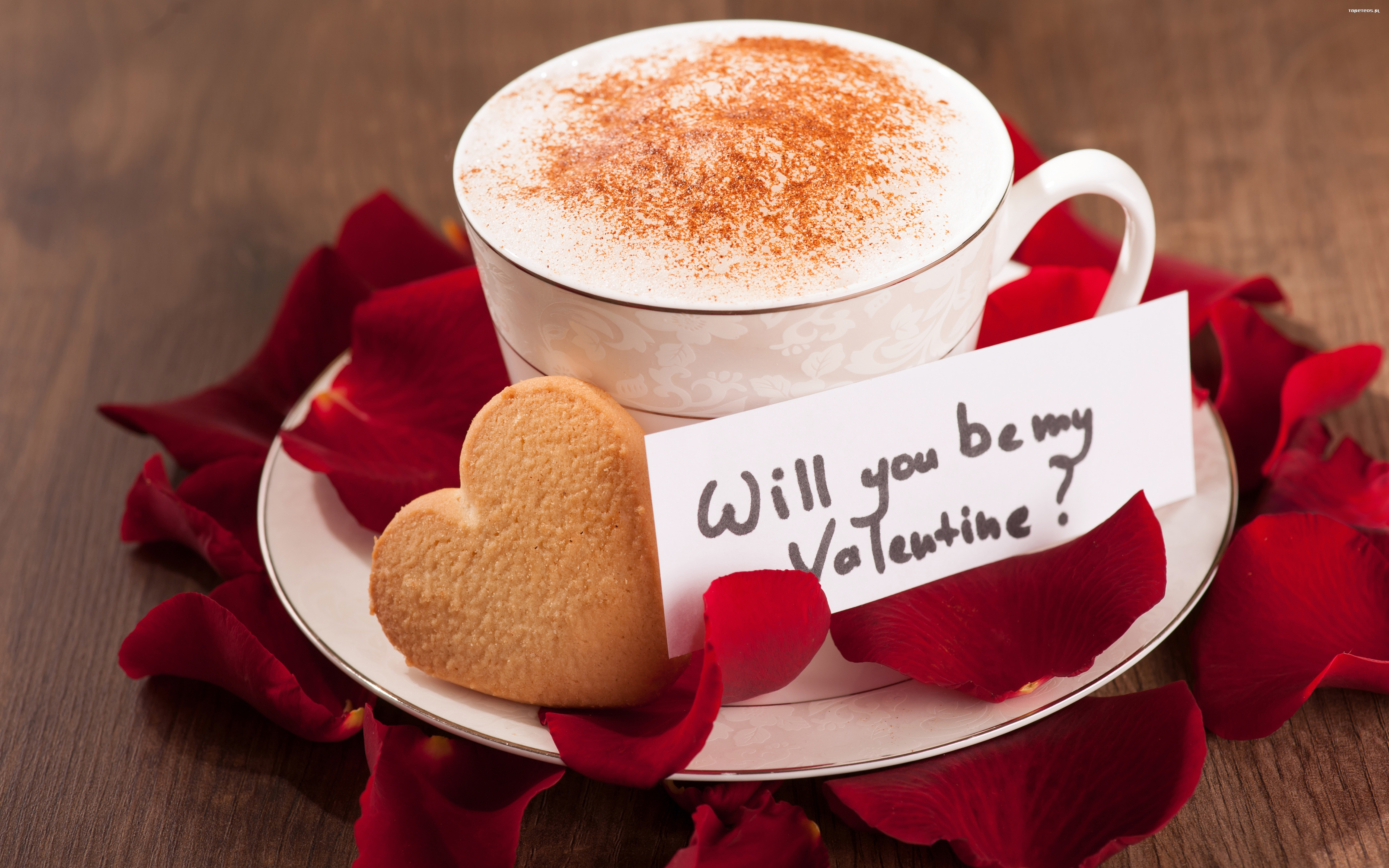 Walentynki milosc 5120x3200 001 kawa ciastko serduszko platki roz tapety na pulpit - Bilder cappuccino ...