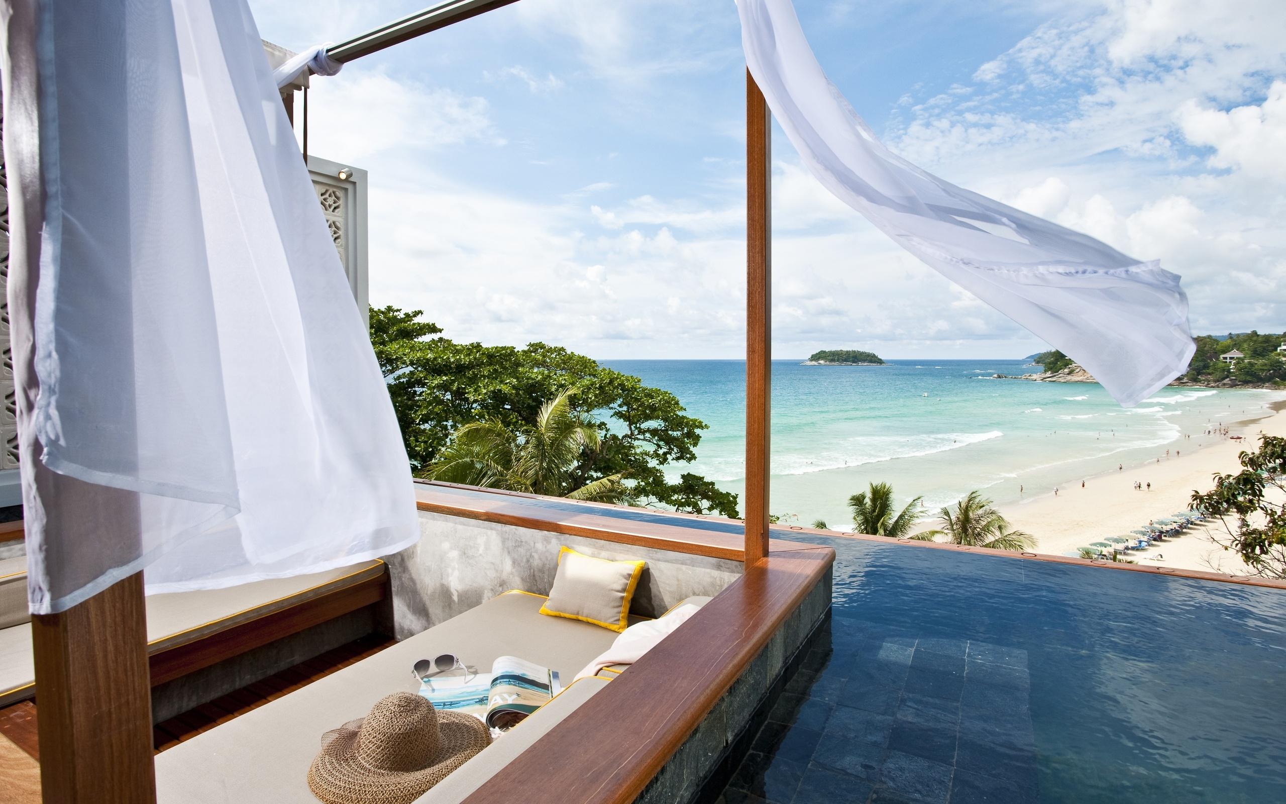Разрешение 1024x600, море, бассейн, небо, песок, пляж, приро.