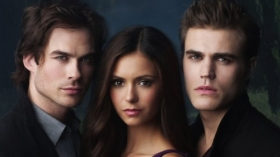 Pamietniki wampirow, The Vampire Diaries 034 Ian Somerhalder, Nina Dobrev, Paul Wesley