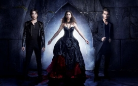 Pamietniki wampirow, The Vampire Diaries 035 Ian Somerhalder, Nina Dobrev, Paul Wesley