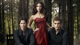 Pamietniki wampirow, The Vampire Diaries 045 Ian Somerhalder, Nina Dobrev, Paul Wesley