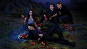 Pamietniki wampirow, The Vampire Diaries 046 Nina Dobrev, Ian Somerhalder, Paul Wesley