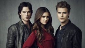Pamietniki wampirow, The Vampire Diaries 048 Ian Somerhalder, Nina Dobrev, Paul Wesley