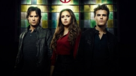 Pamietniki wampirow, The Vampire Diaries 055 Ian Somerhalder, Nina Dobrev, Paul Wesley
