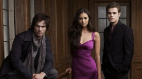 Pamietniki wampirow, The Vampire Diaries 061 Ian Somerhalder, Nina Dobrev, Paul Wesley