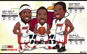 Koszykowka Basketball 1920x1200 021 Miami Heat Big 3 Drawn