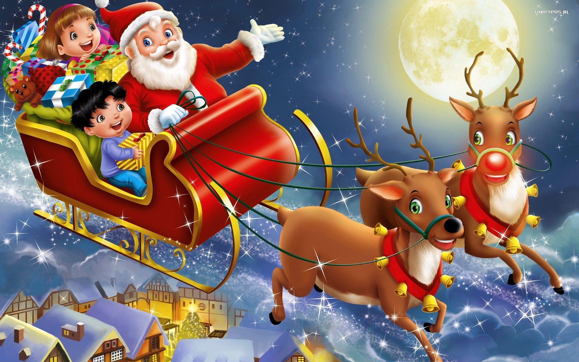 Swieta, Boze Narodzenie 1920x1200 355 Mikolaj, Dzieci, Sanie, Renifery -  Tapety na pulpit
