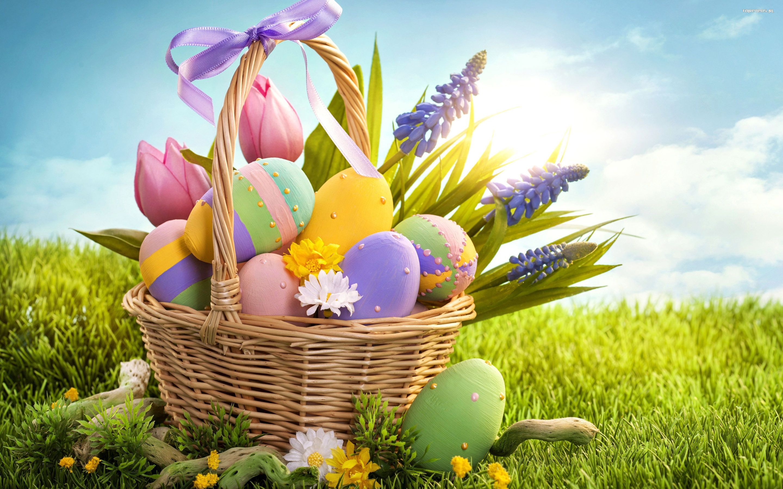 Wielkanoc 2880x1800 011 Koszyk, Pisanki, Kwiaty - Tapety na pulpit