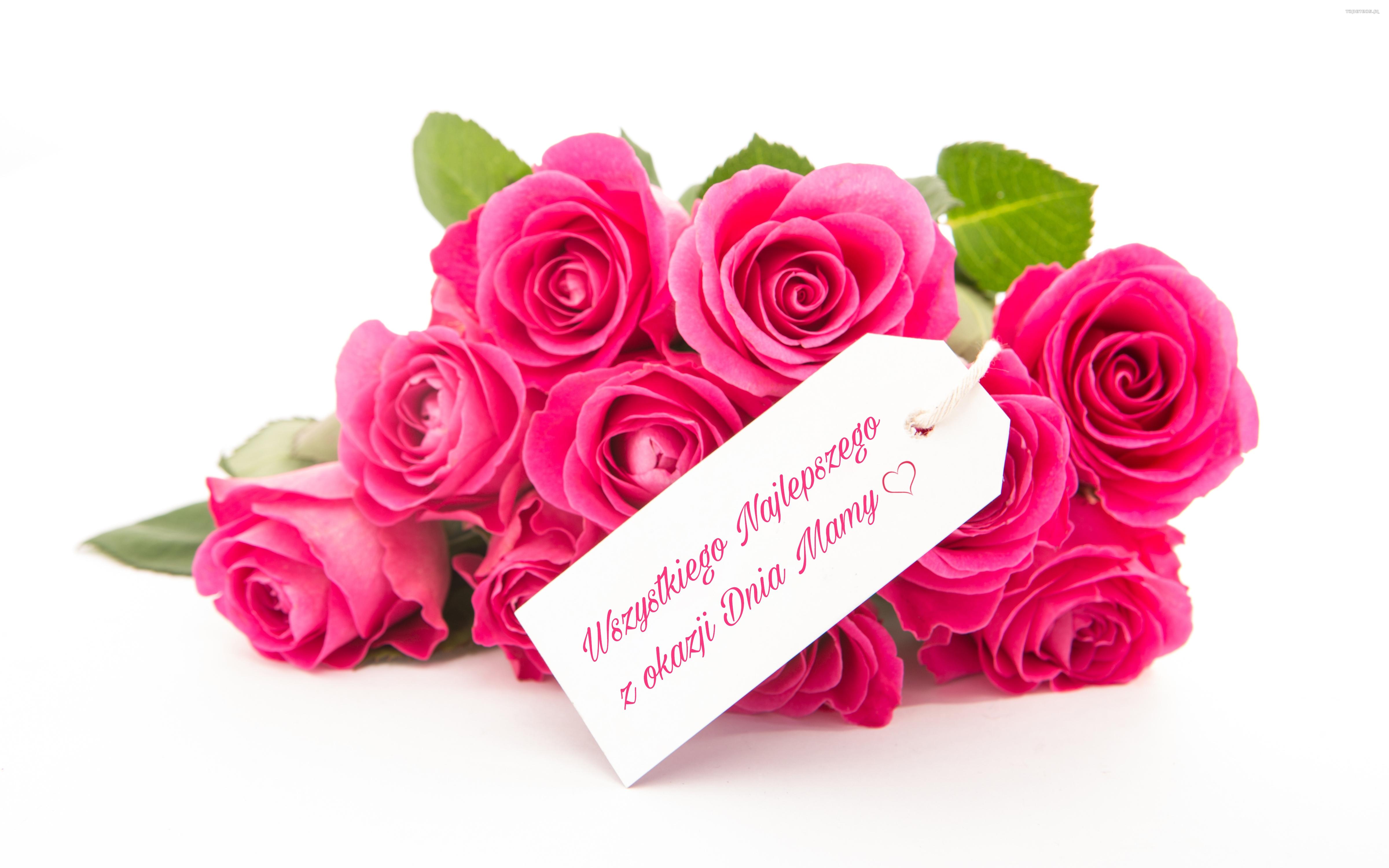 Dzien Matki 049 Kwiaty, Roze, Wszystkiego Najlepszego z okazji Dnia Mamy