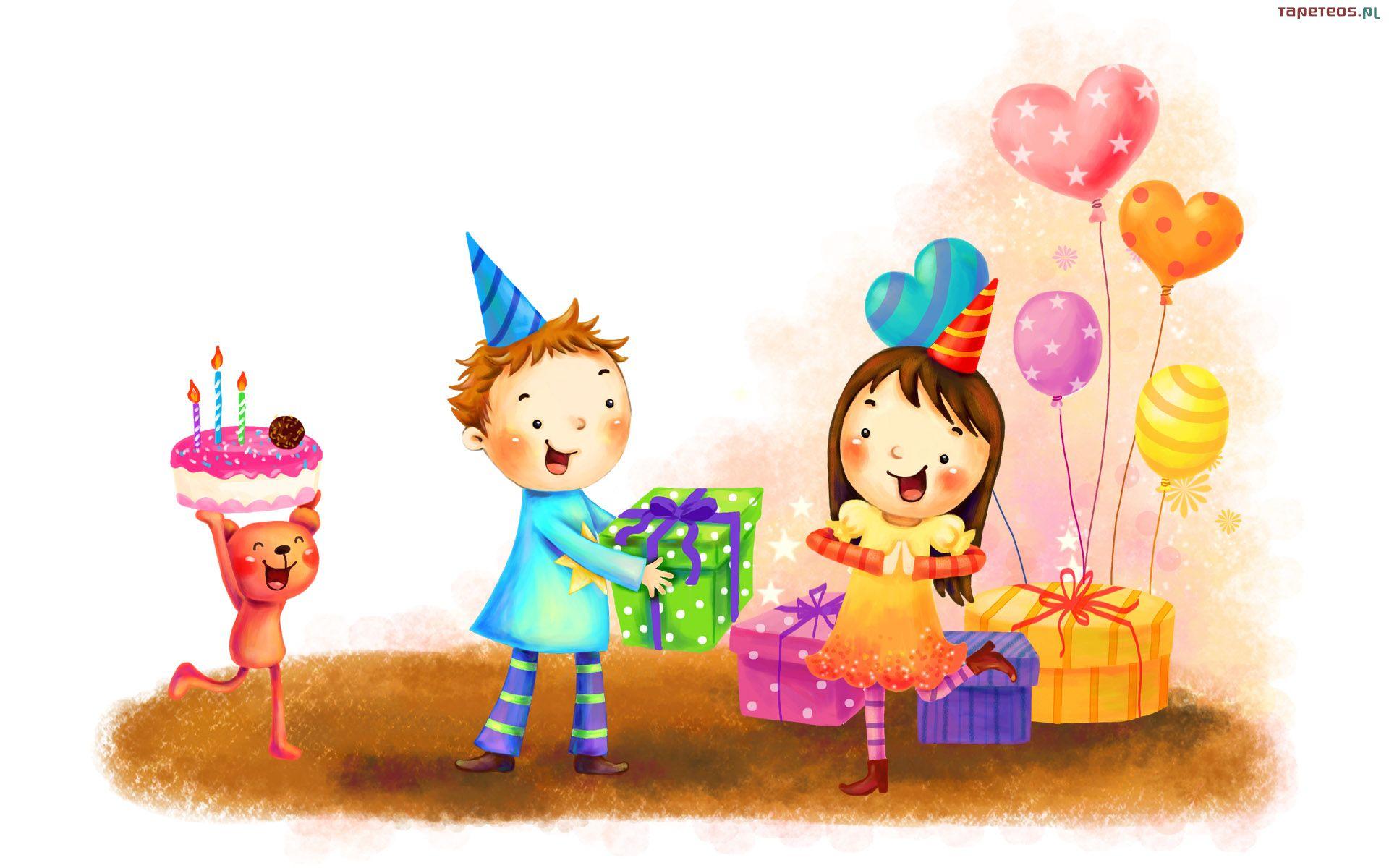 Dla Dzieci 1920x1200 161 Dziewczynka, Chlopiec, Prezenty, Tort, Urodziny